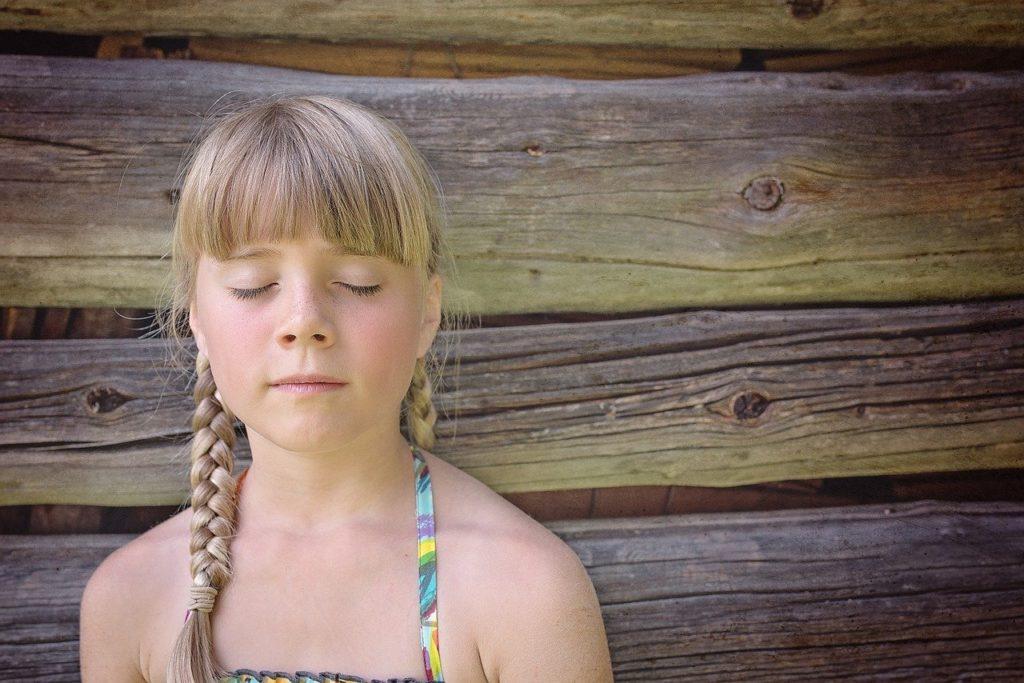 child, girl, eyes closed
